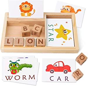 Coogam Spelling Games, Wooden Matching Letters Toy with Words Flash Cards, Alphabet ABC Learning Educational Montessori Puzzle Gift for Preschool Kids Boys Girls Age 3 4 5 Years Old