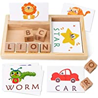 Coogam Spelling Games, Wooden Matching Letters Toy With Words Flash Cards, Alphabets Abc Learning Educational Montessori…