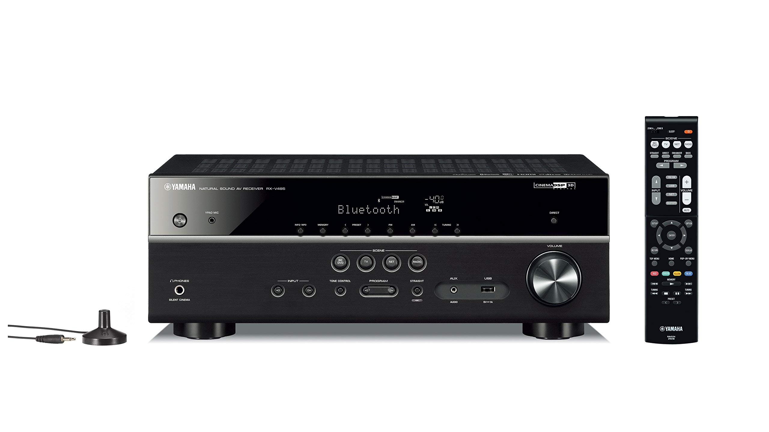 Yamaha RX-V485BL 5.1-Channel 4K Ultra HD AV Receiver with MusicCast - Black (Renewed) by Yamaha