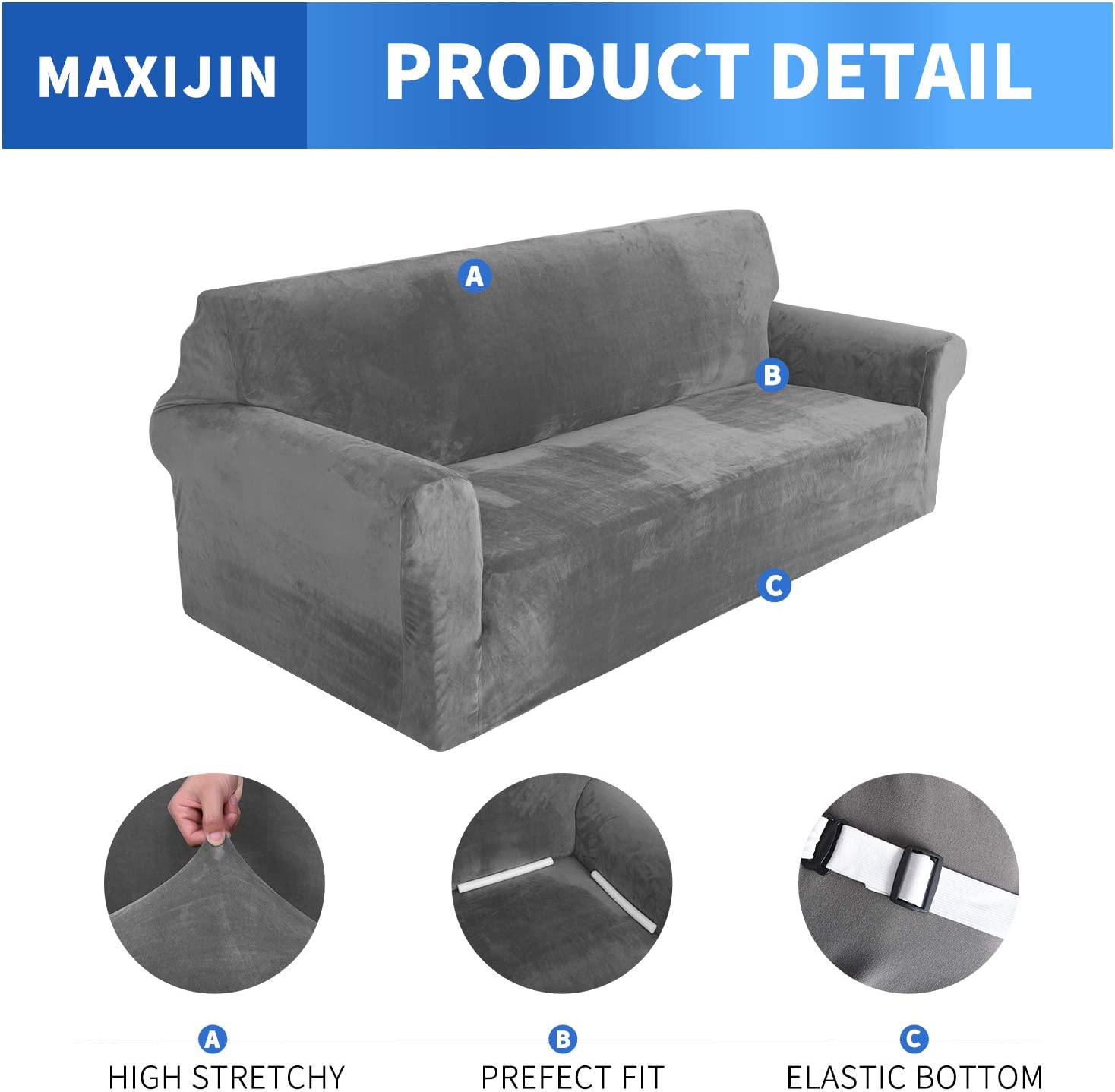 2 Seater, Grey MAXIJIN Thick Velvet Sofa Covers 2 Seater Super Stretchy Loveseat Covers for Living Room Dogs Cat Pet Plush Love Seat Couch Slipcovers Elastic Furniture Protector