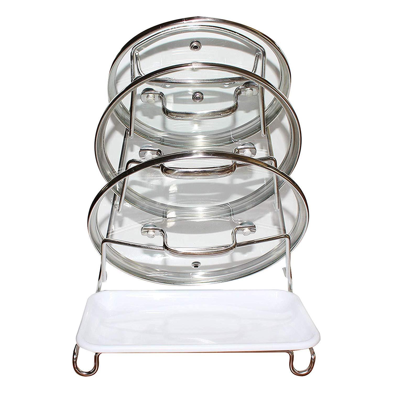 """Kitchen Pan Lid Holder and Organizer – 33cm (12.99"""") x 24cm (9.44"""") Stainless Steel Lid Storage – Kitchen Accessories (4 Lids) Kurtzy"""