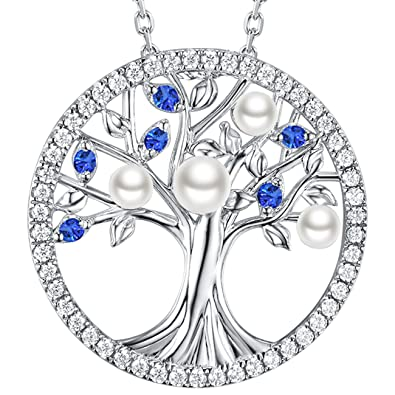 b15b95cccb06b1 Tree of Life Necklace June Birthstone White Pearl Jewelry Blue Sapphire  Necklace for Women Mom Wife