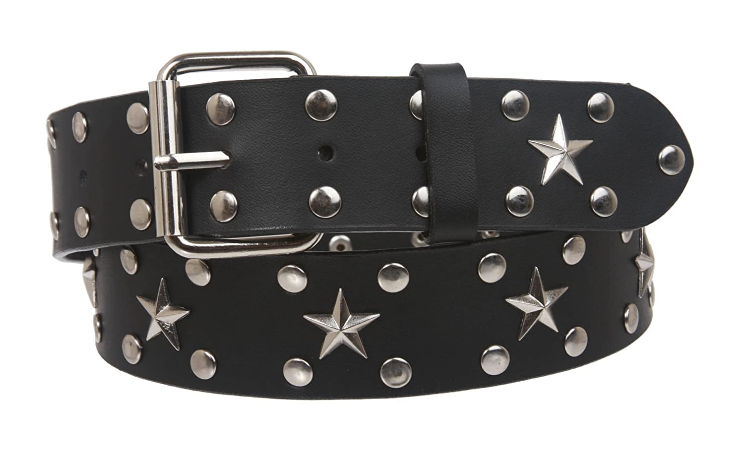 Black 36 Snap On Silver Star and Circle Studded Belt M//L