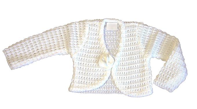61ff83272e BIMARO Baby Mädchen Bolero weiß Taufjäckchen Strickjacke Strickbolero Jacke  festlich Taufe Hochzeit Anlass: Amazon.de: Bekleidung