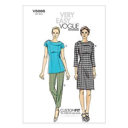 Vogue Patterns V8886 - Patrones de costura para blusas, pantalones y vestidos de mujer (