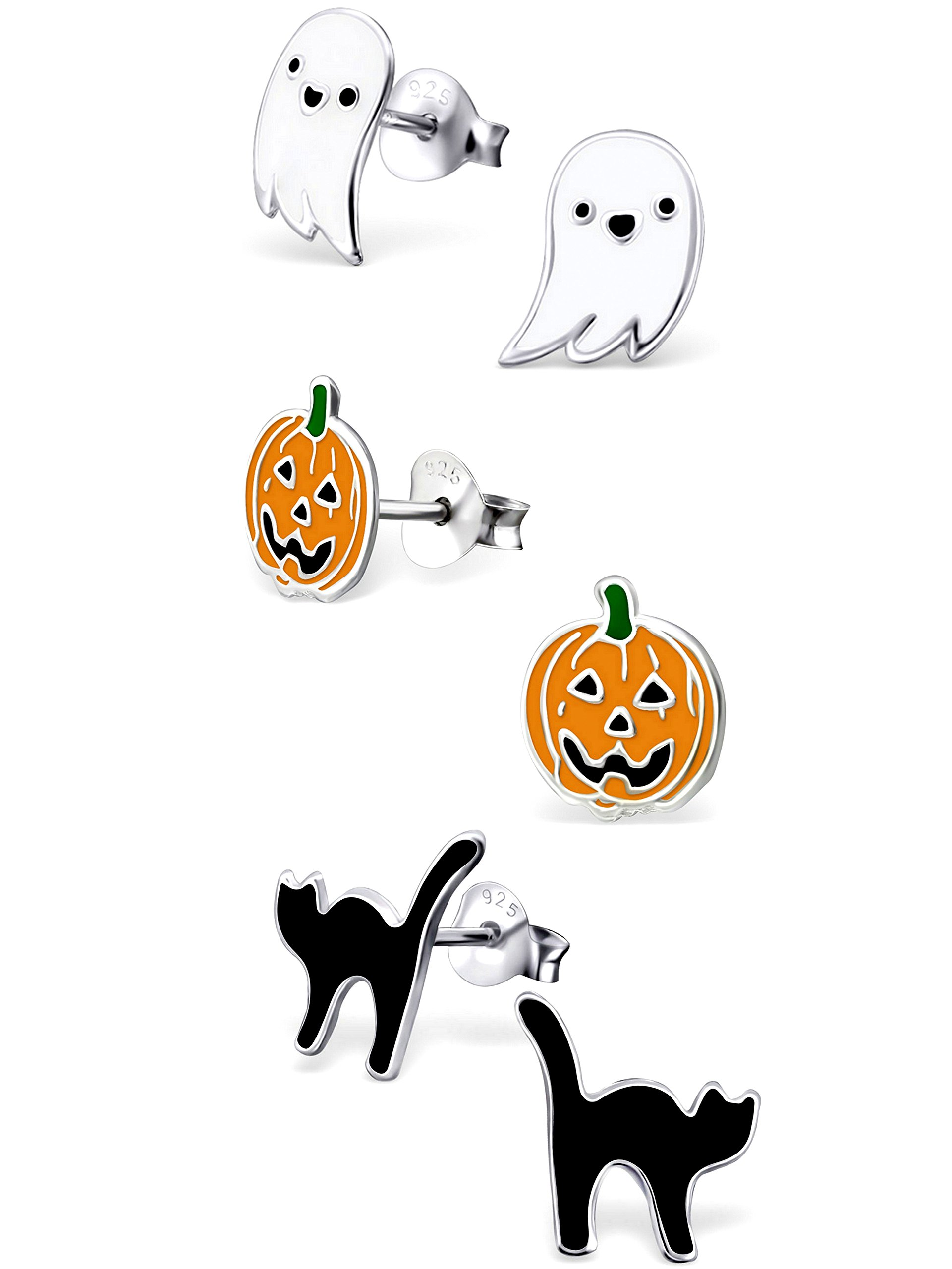 925 Sterling Silver Hypoallergenic Set of 3 Pairs Halloween Set Ghost, Orange Pumpkin Jack-O-Lantern , Black Cat Stud Earrings for Girls and Womens (Nickel Free) 20509