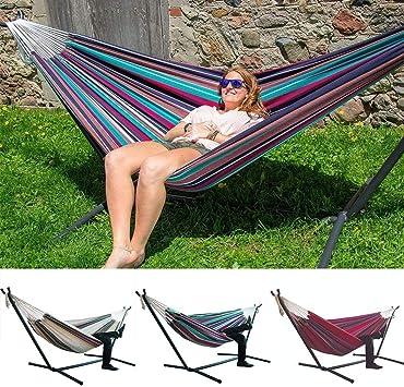 Imagen deJunio1 Comodidad Durabilidad Silla Colgante a Rayas Silla Hamaca Grande Hamacas
