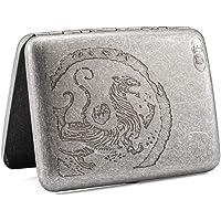 Pitillera de metal antiguo tigre, para hombre y mujer, para 16 cigarrillos, con grabado, aspecto elegante y cualidades…