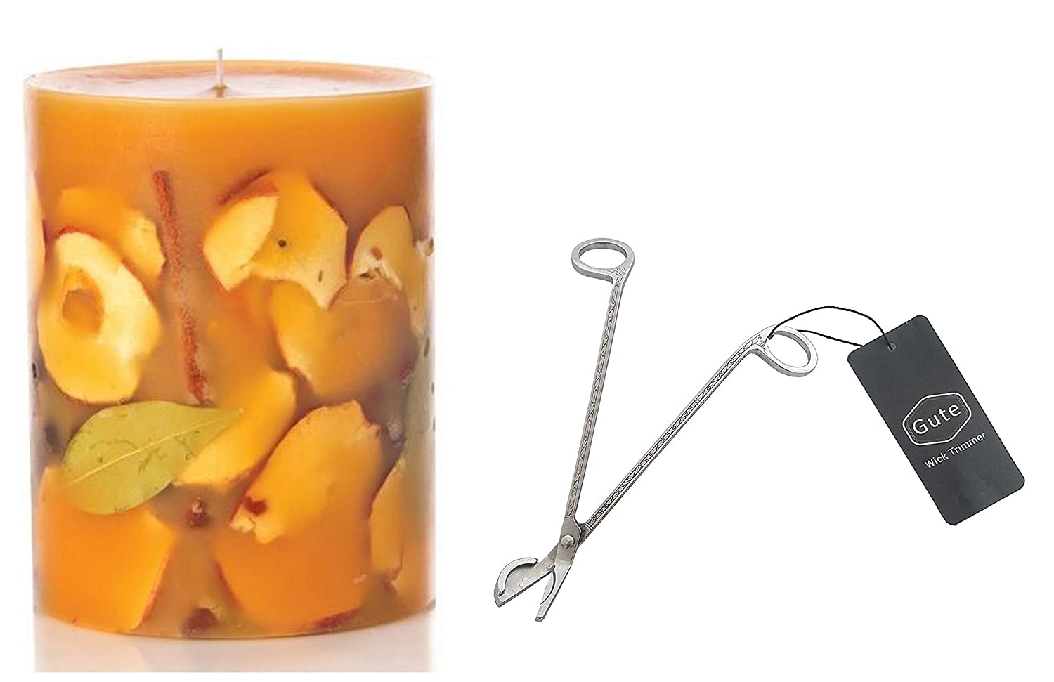 """Gute Rosy Rings Spicy Apple Botanical Candle, 6.5"""" Tall, 200 Hour Burn time, Bundle Wick Cutter (2 Items)"""