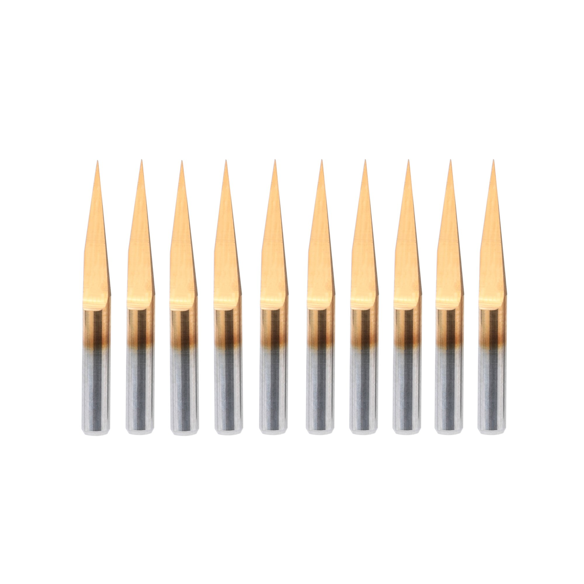 HQMaster 10 Degree 0.1mm Tip Titanium Coated Flat Bottom PCB Engraving Bits V-shape CNC Router Cutter Cutting Tool Tungsten Steel, Pack of 10
