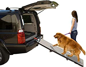 Pet Gear Tri-Fold Ramp 71 Inch Long Extra Wide Portable Pet Ramp for Dogs/Cats up to 200lbs, Patented Compact/Easy Fold with Safety Tether