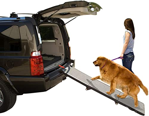 Pet Gear Tri-Fold Ramp 71 Inch Long Extra Wide Portable Pet Ramp for Dogs Cats up to 200lbs, Patented Compact Easy Fold with Safety Tether