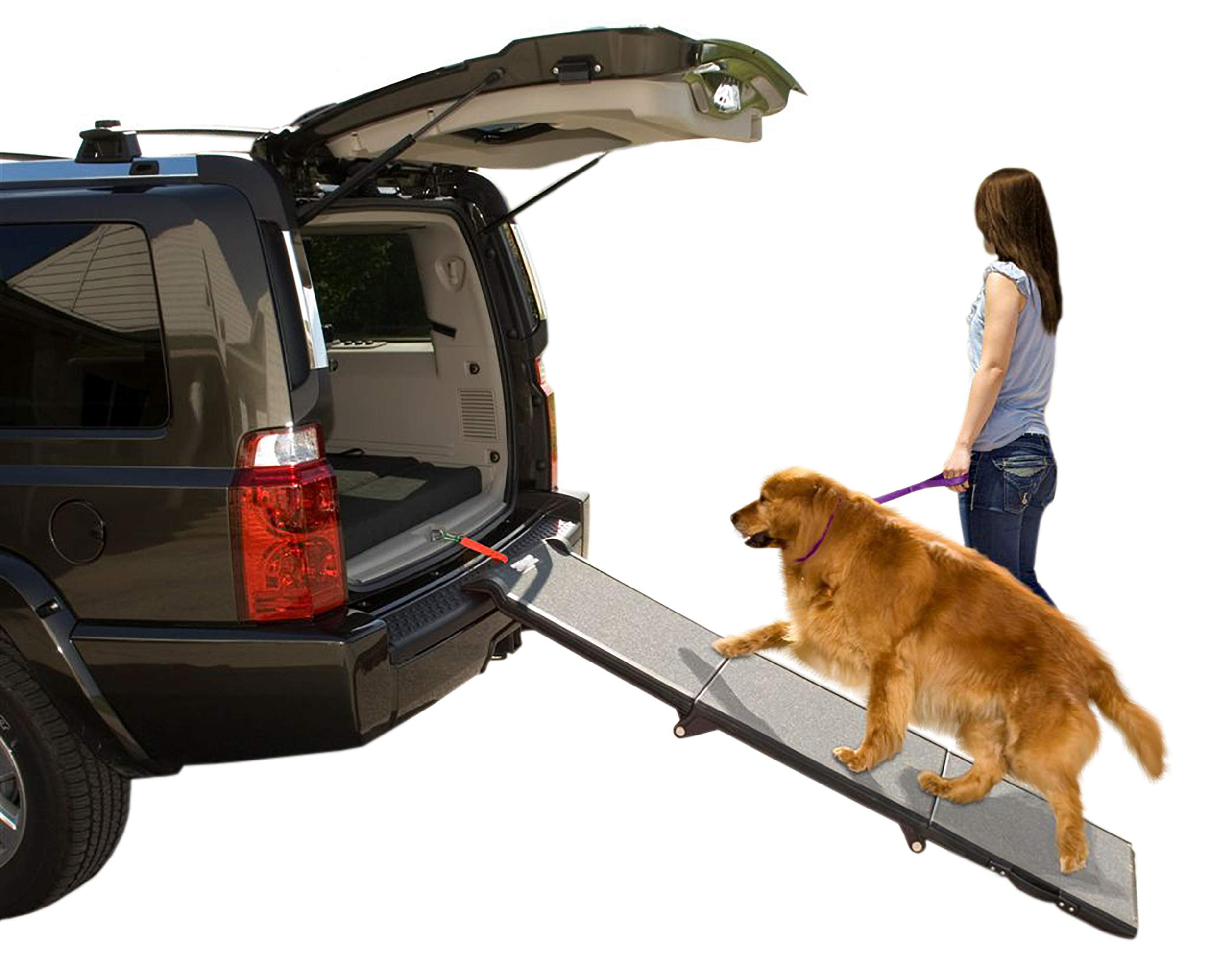 Pet Gear Tri-Fold Ramp 71 Inch Long Extra Wide Portable Pet Ramp for Dogs/Cats up to 200lbs, Patented Compact/Easy Fold with Safety Tether by Pet Gear