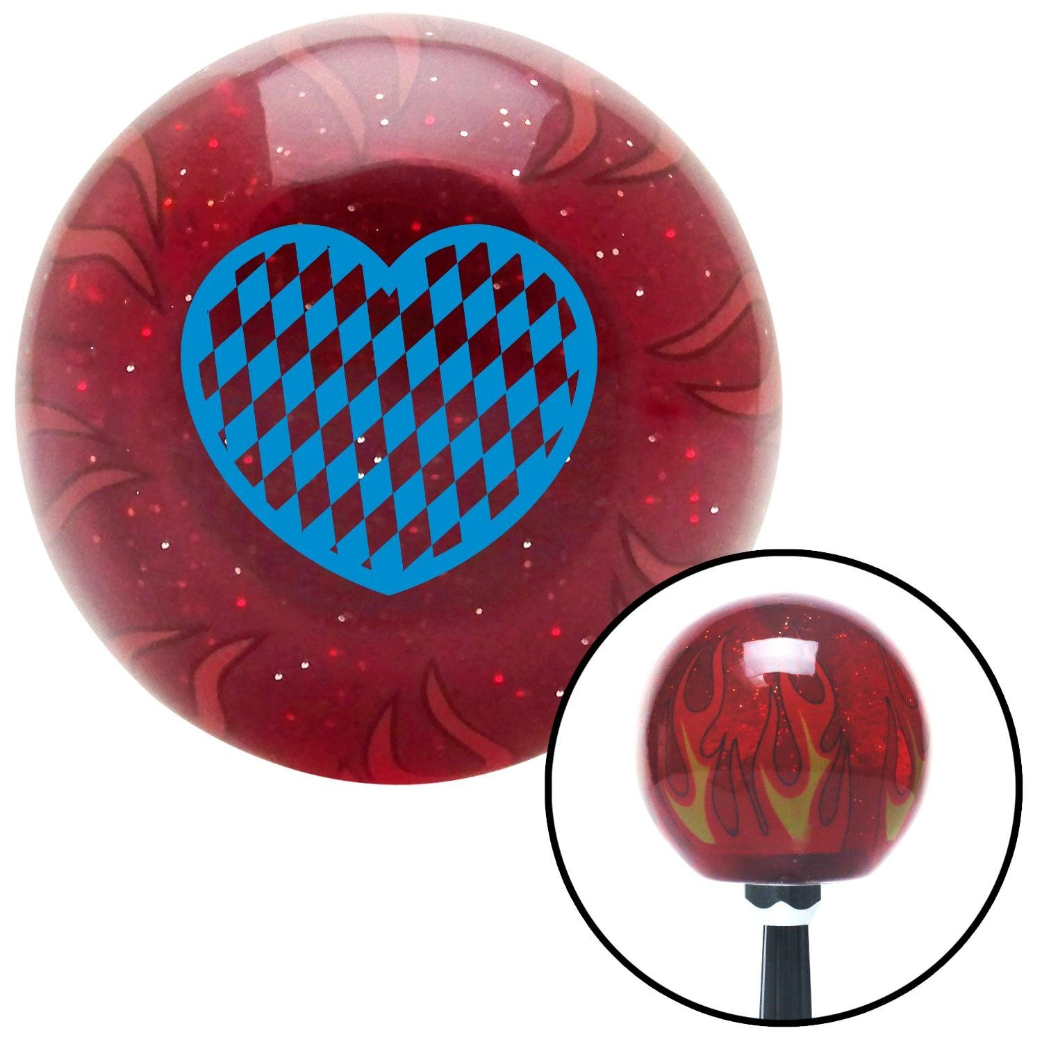American Shifter 237098 Red Flame Metal Flake Shift Knob with M16 x 1.5 Insert Blue Checkered Heart