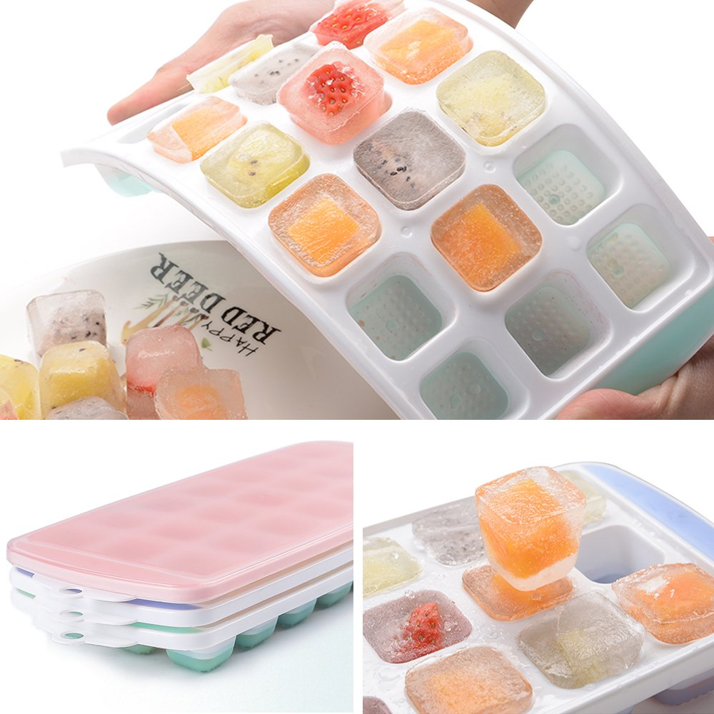 Ice Cube Trays 3 Packs Flexible Silicone Ice Trays with Spill-Resistant Lids Easy Release Ice Trays Make 63 Ice Cube, BPA Free,Stackable,Dishwasher Safe by XYUN