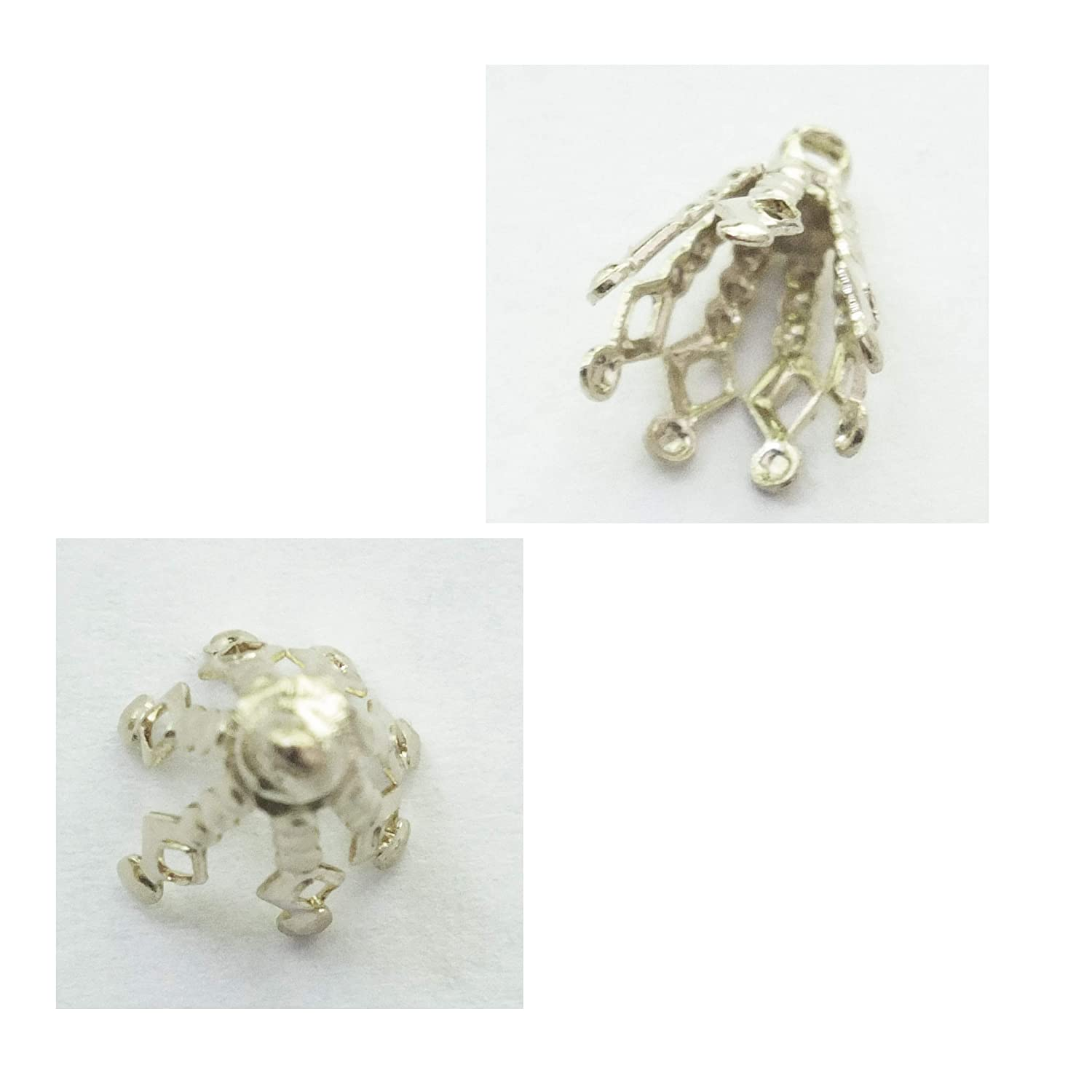 Large Filigree Bell Caps Bails Pliable Prongs Silvertone Loop for Hanging Pack of 50 Approx 14mm