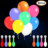LED Balloons Flashing, 32 Pack, 8 Colors Light Up Balloons, Lasts 12-24 Hours for Glow in the Dark Party Supplies, Birthday and Halloween Party Decorations, Inflate with Helium or Air