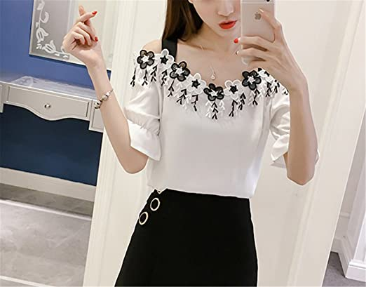 30825c6580c OUXIANGJU Women Summer Elegant White Off Shoulder Blouse Shirt Short Sleeve  Flower Tassel Tops at Amazon Women s Clothing store