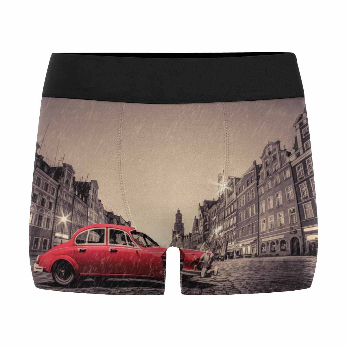 INTERESTPRINT Custom Mens Boxer Briefs Retro Red Car on Cobblestone Historic Old Town in Rain XS-3XL