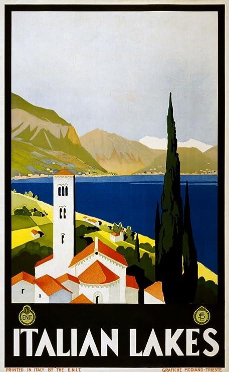 Italian Lakes Vintage Travel Poster Italy Framed (Ready To