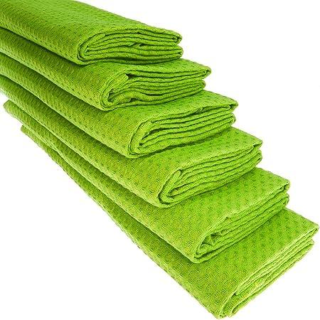 6 x paños de algodón 100% Suela de pique en color verde claro ...