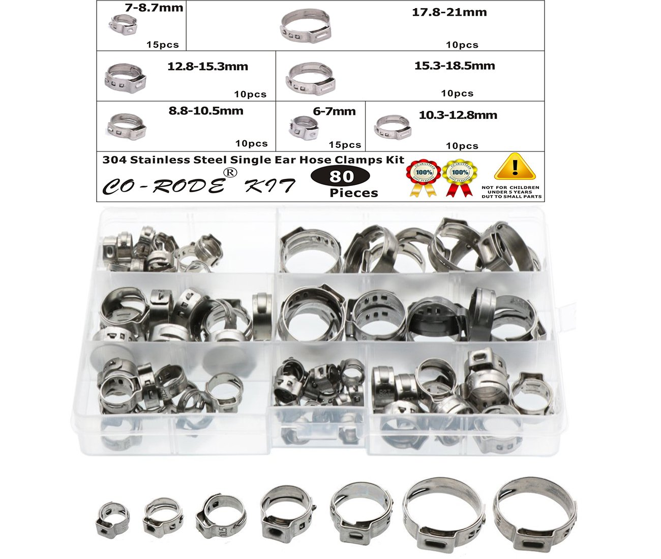 Hose Clamp, CO RODE 80pcs Stainless Steel Stepless Hose Clamps (Single Ear)