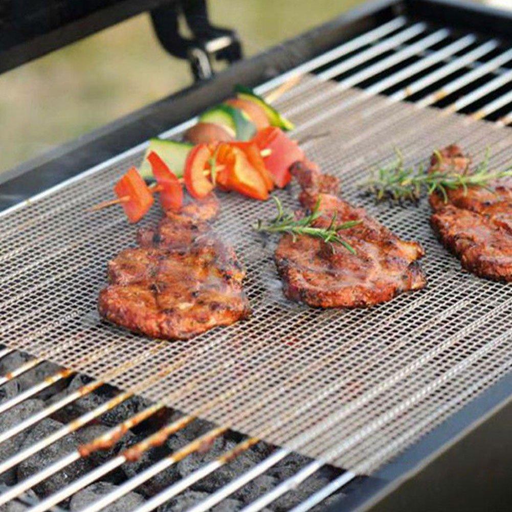 Anti-adh/ésif Durable en t/éflon Griller Net Barbecue Tapis de Cuisson /étag/ère pour Griller la Viande l/égumes Fruits de mer Grille pour Barbecue en Maille Filet