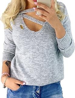 Hibote Mode Chemise pour Femme Manche Longue Epaules Dénudées Pull en Tricot Couleur Unie Jumper Casual Slim Fit Chemisier Tops pour Printemps Automne Grande Taille CHM18112301