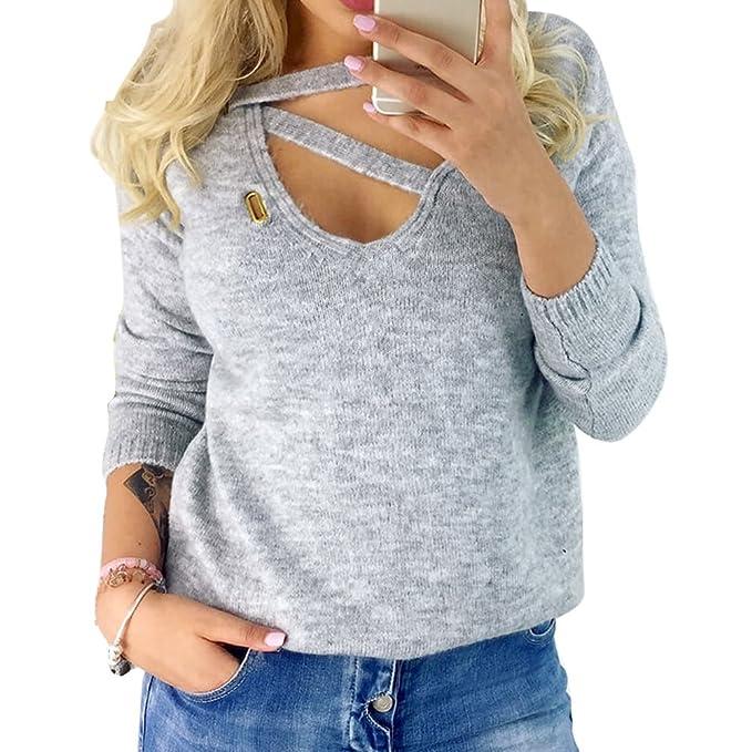 Juleya Mujer Camiseta de Punto - Moda Manga Larga Cuello EN V Blusa Color Sólido Camisetas