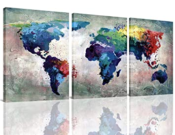 3 Panels Canvas Painting Abstract World Map Picture Printed On Canvas Giclee Artwork Stretched And Framed Wall Art For Home Decor Blue