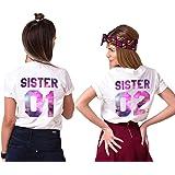 Best Freund Best Friends Sisiter Shirt mit Farbigen Aufdruck für Zwei Shirts Mädchen Damen Tops Sommer Oberteil 2 Stücke BFF Geschenke