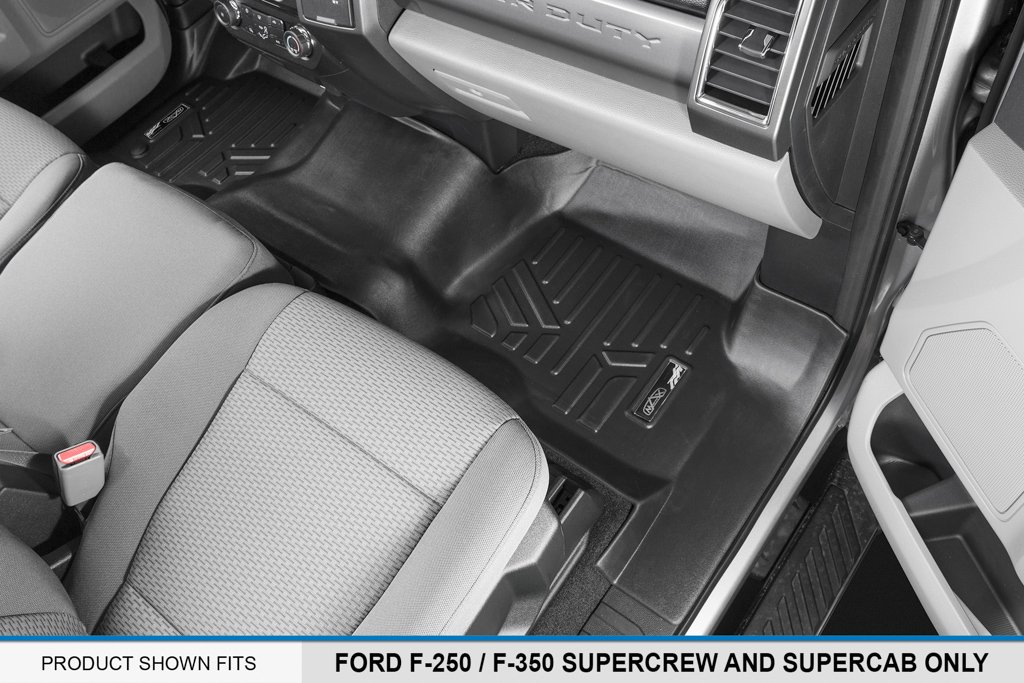MAX LINER A0298/B0298 Custom Floor Mats 2 Liner Set Black for 2017-2019 Ford F-250/F-350 Super Duty Crew Cab with 1st Row Bench Seat by MAX LINER (Image #3)