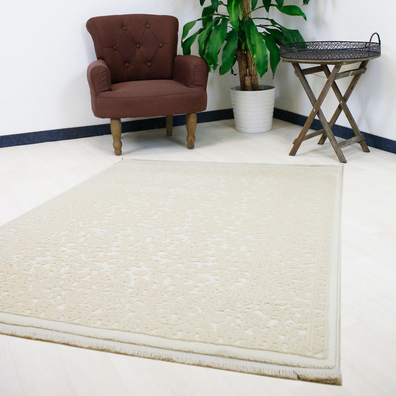 Teppich Beige durchgemustert hochwertig Velour Vintage Wohnzimmerteppich in versch. Größen (80 x 150 cm)