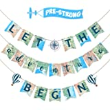 Let the Adventure Begin Banner Adventure Awaits Bon Voyage Map Banner for Travel Themed Birthday Baby Shower Graduation Retirement Job Career Change Farewell Party Decorations Supplies Pre Strung & Ready to Hang