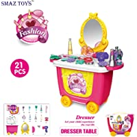 SMAZ TOYS Kids Makeup Kit Pretend Play Cosmetic and Toys Toddler Makeup Playset Kids Toys Makeup for Children's Learning Resources Educational Trolley Case Organizer