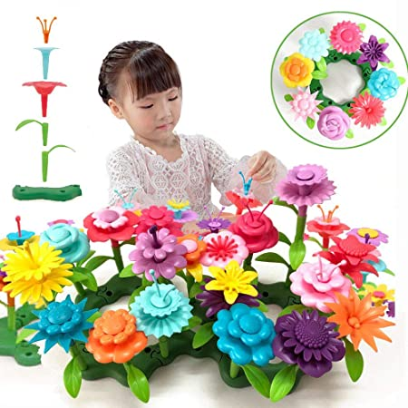 Qhtoy Dhsm Children's Toy Set Flower Building Toy Garden Building Block Toy Girl Boy 46 Pcs Educational Toy Creative And Revival 3 Years Old And Above Bouquet Flower Arrangement Educational Toy Set by Qhtoy Dhsm