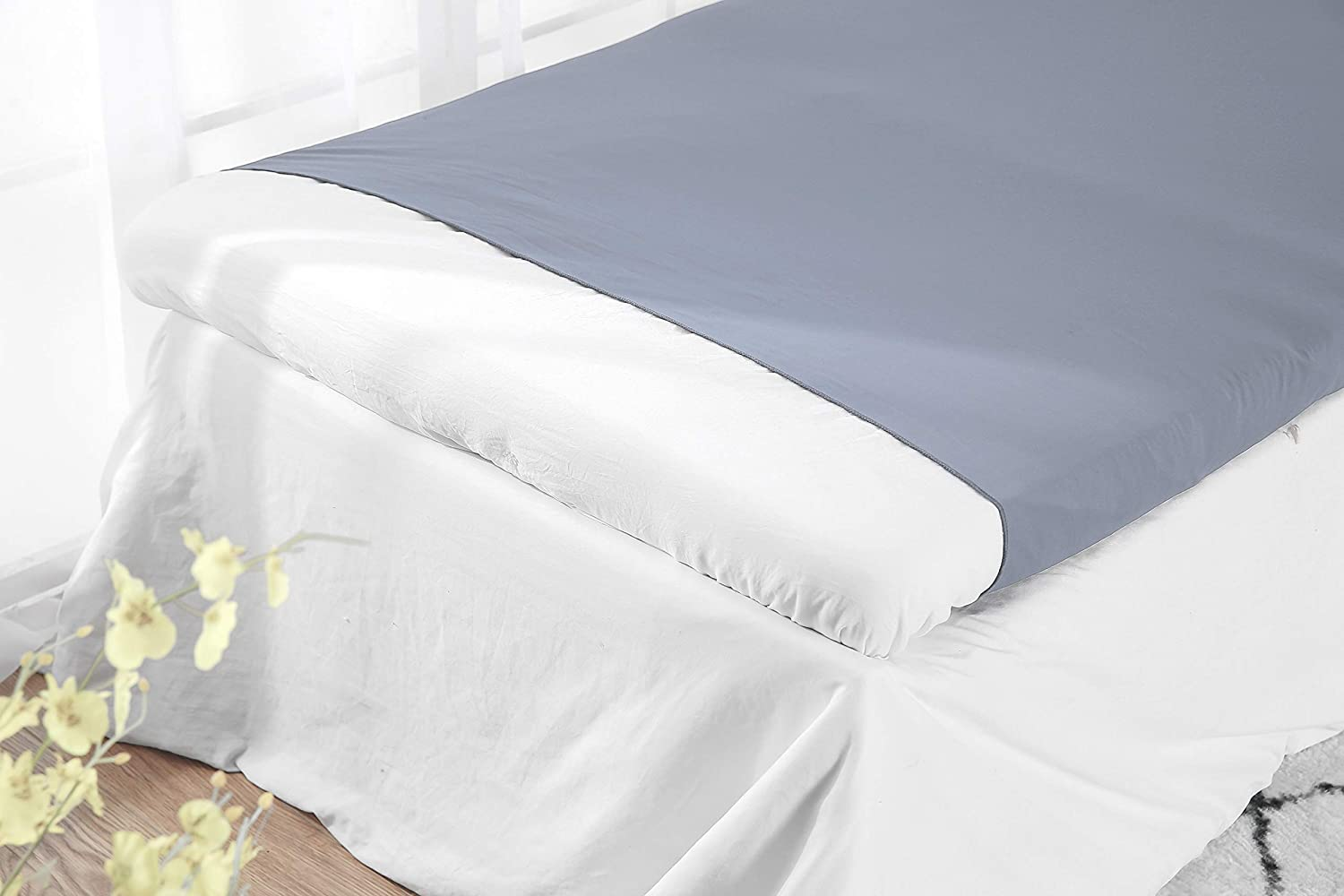 Adjustable Queen Size Royal Blue BUZIO Pouch Sensory Bed Sheet for Kids Compression Alternative to Heavy Blanket -Breathable Stretchy