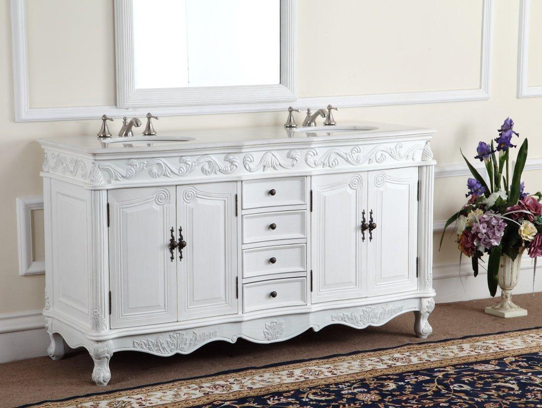 64 inch double sink bathroom vanity. 64  Antique White Beckham Bathroom sink vanity Model CF 3882W AW Amazon com