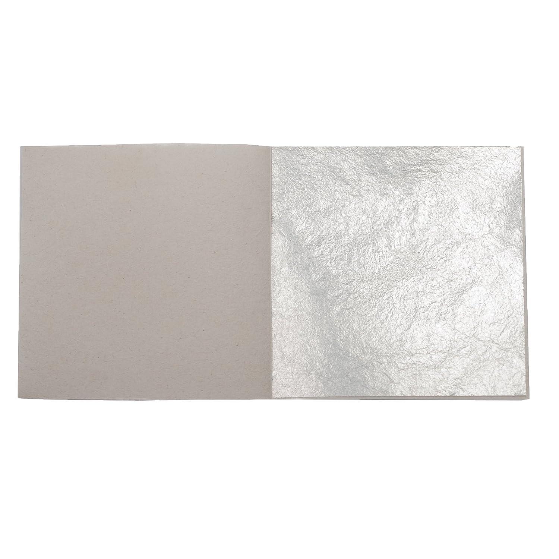 50 Sheets Genuine Pure Silver Leaf Size: 60 mm x 60 mm Blattgold-Blattsilber