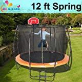 ALL 4 KIDS 12 FT Spring Trampoline with Safety Net & Basketball Board