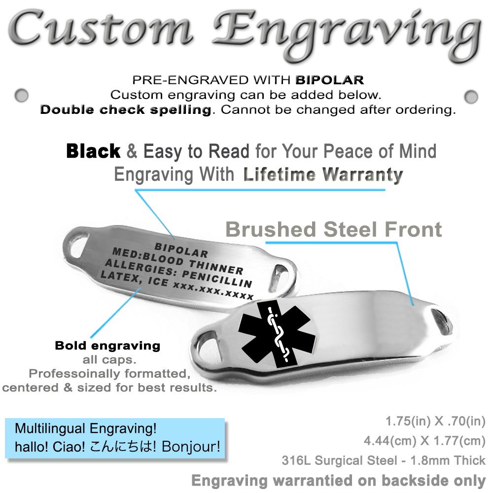 Steel Hearts Black My Identity Doctor Pre-Engraved /& Customizable Bipolar Toggle Medical Alert Bracelet