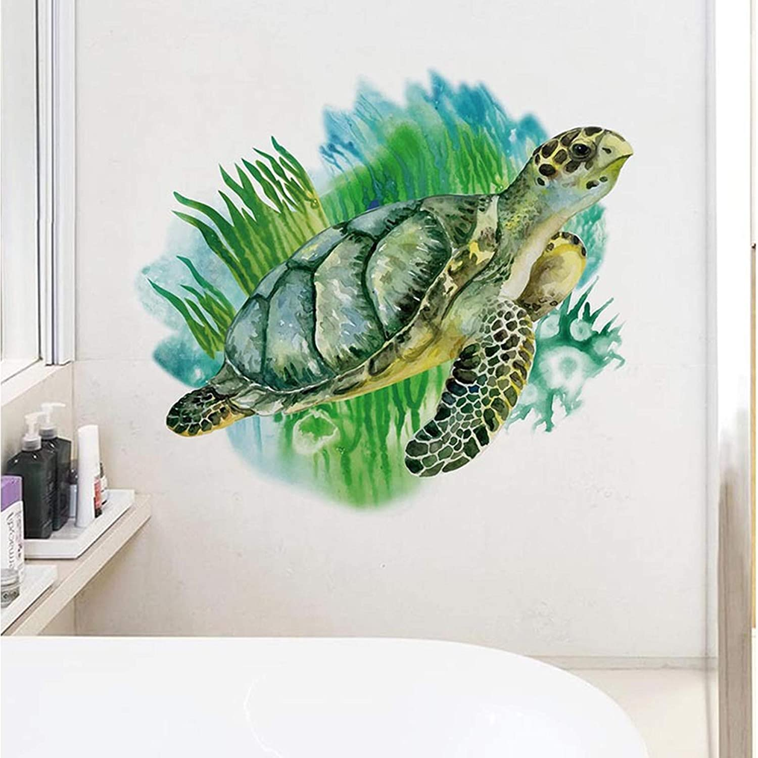ROFARSO Lifelike Lovely Cute Green Sea Turtle Animal 3D Vinyl Wall Stickers Removable Wall Decals Art Decorations Decor for Nursery Baby Bedroom Playroom Living Room Murals