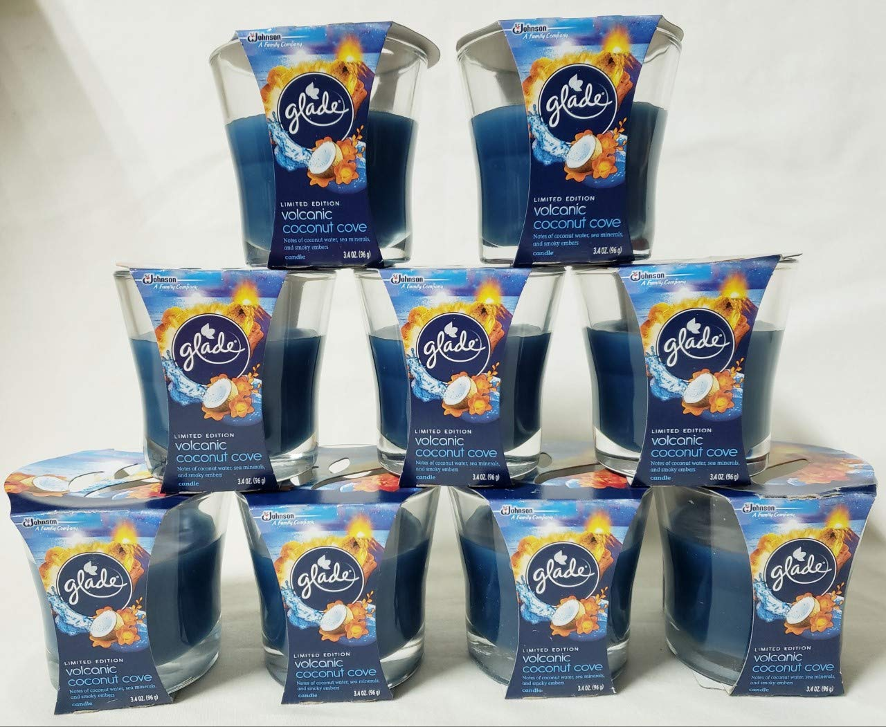 9 GLADE VOLCANIC COCONUT COVE SINGLE WICK CANDLES 3.4 OZ EACH NEW AIR FRESHNER