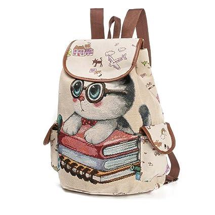 Bolso, Manadlian Mochila de mujer Cute Cat Printing Mochila con cordón de lona Bolsa de