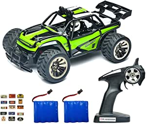 Speedi2 Electric RC Car Off Road 1:16 Scale RC Monster Truck 2.4GHz Radio Remote Control Car 2WD High Speed Rock Crawler with 2 Rechargeable Battery and 45 PCS Stickers (Green)