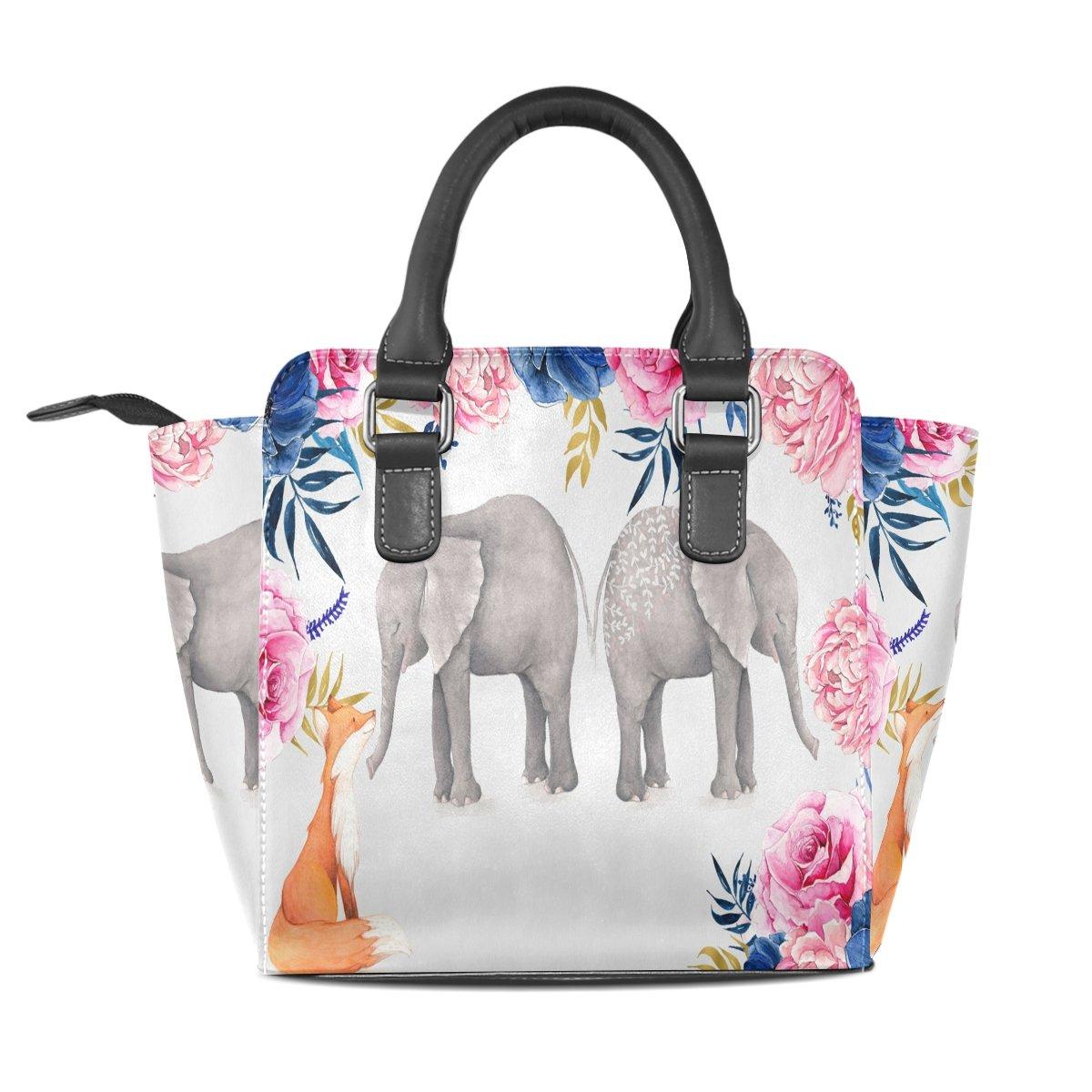 imobaby Elephants With Fox PU Leather Girls Top-Handle Handbags Single-Shoulder Ladies Tote Crossbody Bag Messenger Bags For Women