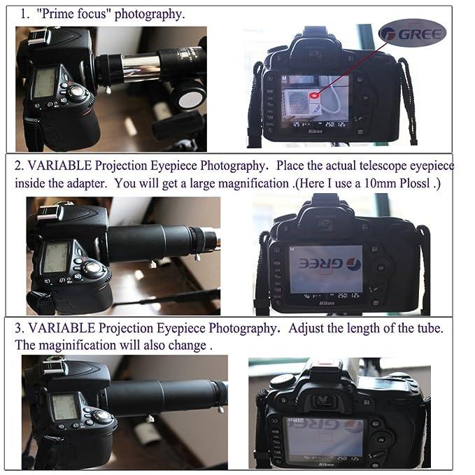 Deluxe telescopio Kit de adaptador de cámara para Pentax K SLR/DSLR - Prime Focus y ajustable de proyección - acepta oculares 1.25