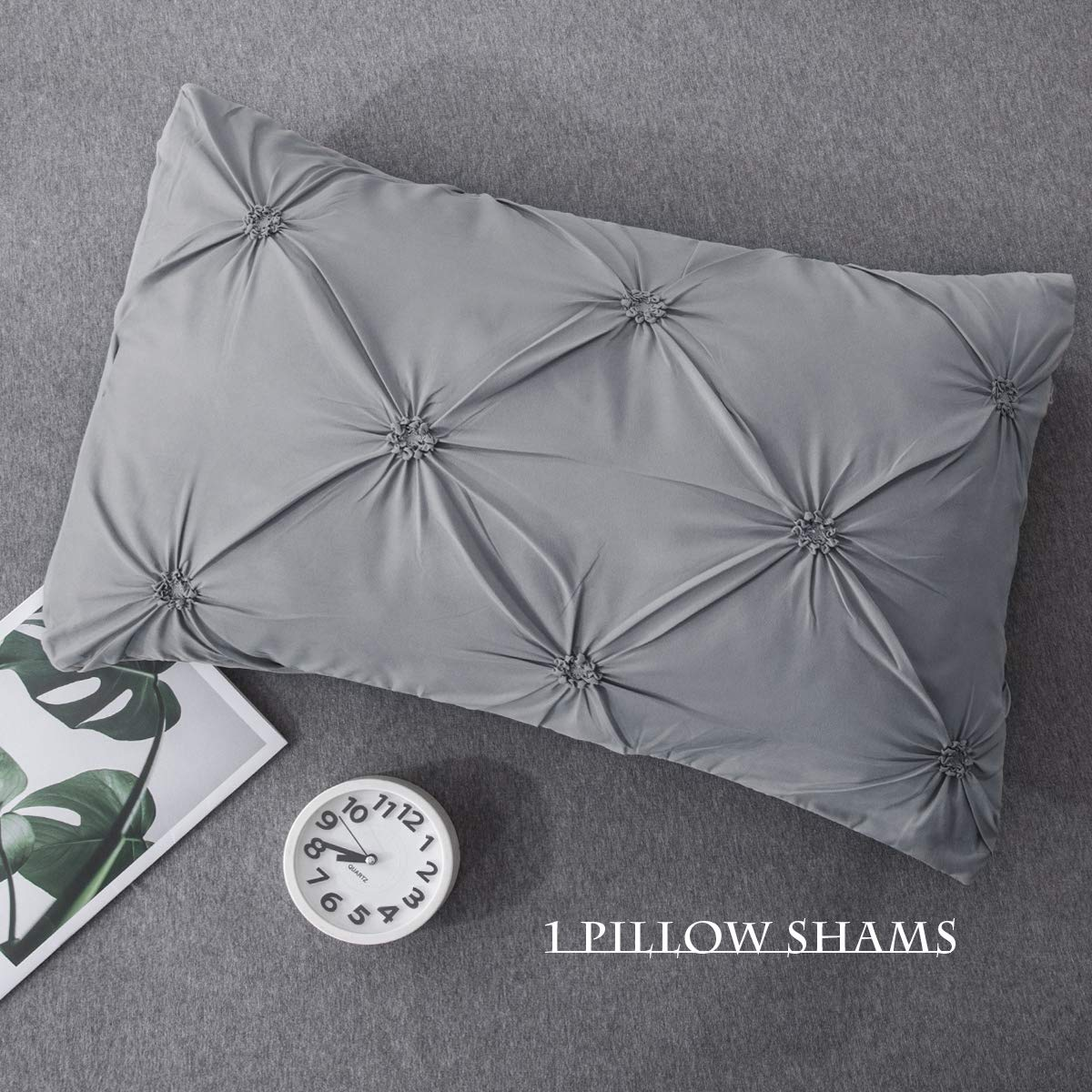 66 x 90inch Eternal Moment Pinch Pleat Duvet Cover with Zipper Closure Soft Luxurious Microfiber Pintuck Decorative Bedding Set with Pillow Shams 1 Duvet Cover and 1 Pillowcase White, Twin