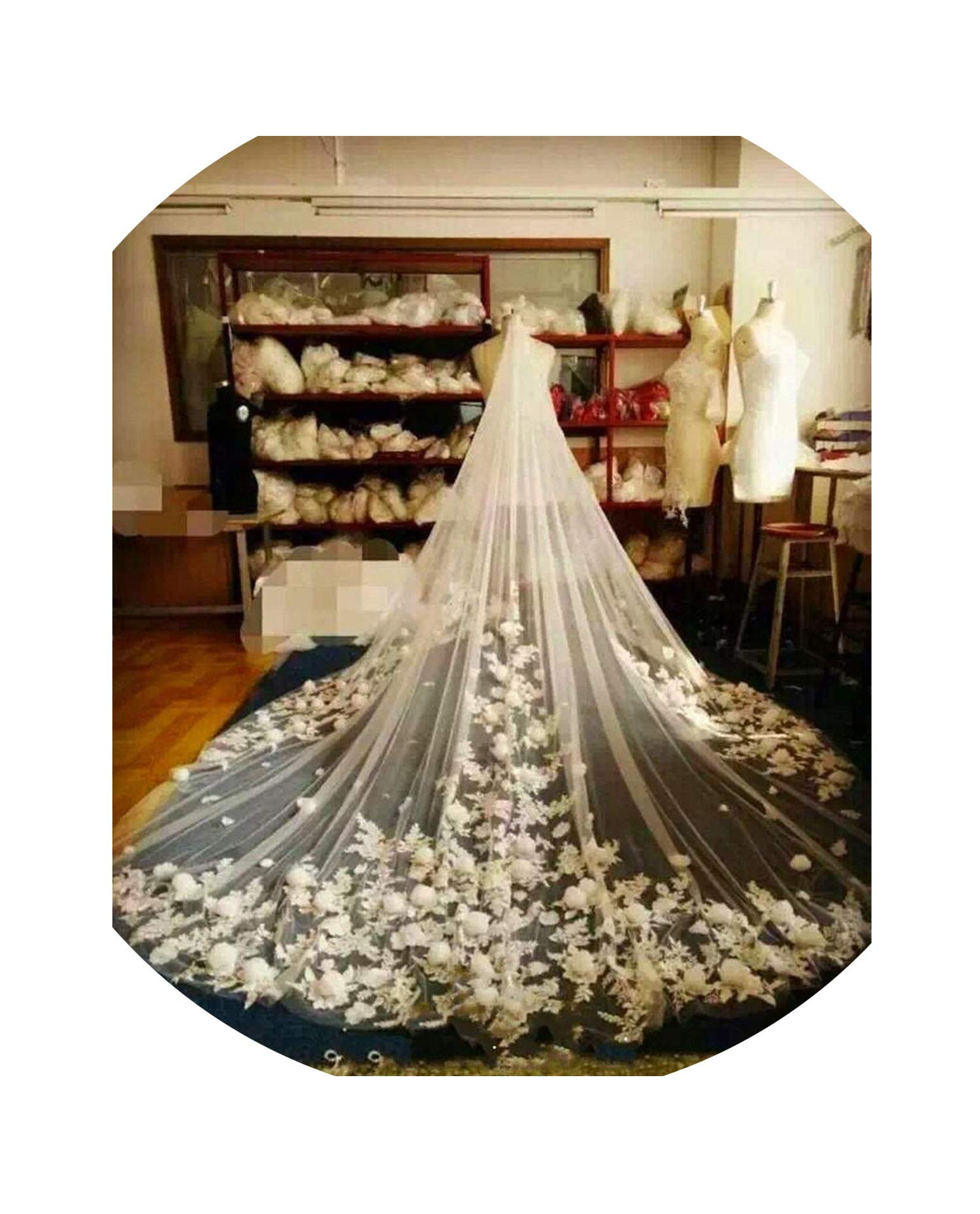 New Coming Cathedral Veil With 3D Floral Appliques One Layer Designed For Church Wedding Best Wedding Accessories With Comb,White,500Cm