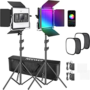 Neewer 2 Packs 480 RGB Led Light with APP Control, Photography Video Lighting Kit with Stands and Softbox, 480 SMD LEDs CRI97/3200K-5600K/Brightness 0-100%/0-360 Adjustable Colors/9 Applicable Scenes